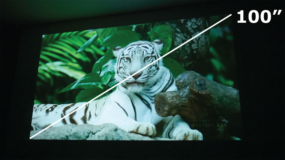 Proiezione schermo 100 pollici con videoproiettore